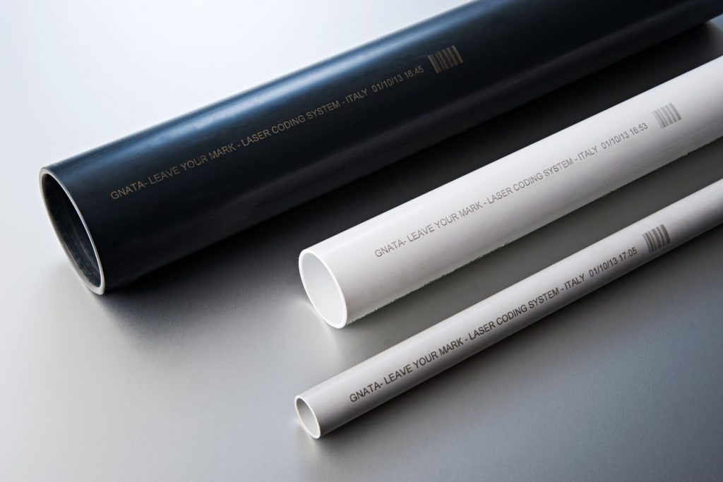PVC pipes with laser and bar code marking.